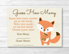 """Woodland Fox Gender Neutral Printable Baby Shower """"Guess How Many?"""" Game Cards"""