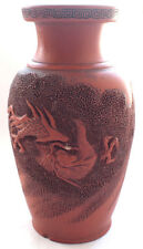 Stunning 19th Century Old JAPANESE Clay Lucky Dragon Vase Signed (Unknown Maker)