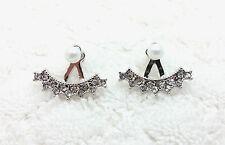 Ear Jacket Double Sided Faux Pearl Stud Earrings