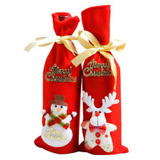 Wine Bottle Cover Bags Decoration Home Party Santa Claus Christmas