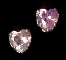 14K 4mm Solid Yellow Gold Heart Cut Pink Crystal CZ Stud Earrings Bb