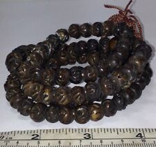 9 to 10mm Dark Brown Floral Carving Bone Buddhist 108 Bead Mala Prayer Beads
