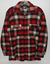 Vtg 1950's Woolrich Red Buffalo Plaid Button Front Size Small Wool Shirt Jacket