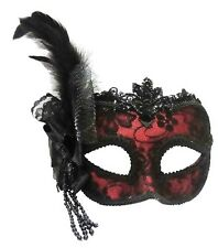Red Side Feather Masquerade Masked Ball Venetian Eye Mask