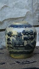 ANTIQUE 18C CHINESE BLUE AND WHITE PORCELAIN HAND PAINTED