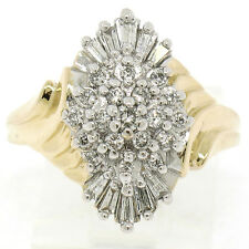 14k Yellow Gold 0.50ctw Prong Round & Baguette Diamond Cluster Cocktail Ring
