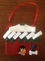 Personalized Fireplace Family of 6 w/ Dog or Cat Christmas Ornament