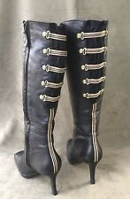 Rockport Knee High Zip-up Boots Slim Heel Black Leather w/Fabric/Brass Size 7 M