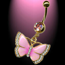 Pink  Rosa  Schmetterling Bauchnabelpiercing Klare Kristalle vergoldet