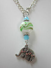 Car mirror charm silver tone elephant Pendant hanging ornament green glass bead