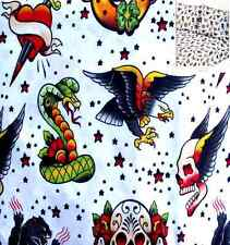 TWISTED TATTOOS FLYING SKULLS DAGGER HEARTS 3PC TWIN SHEETS BEDDING SET NEW