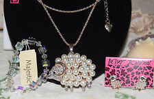 3PC BETSEY JOHNSON HUGE PEARL & CRYSTAL SHEEP MATCH EARRINGS & CUT CRYSTAL BRAC