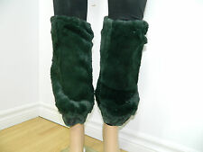 GREEN SHEARED RACCOON FUR GAITERS LEG WARMERS ONE SIZE n.313