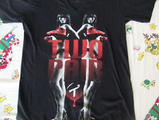 Tits Brand Two Pair in the shirt Sexy Girl V Neck Black T Shirt Men's size S