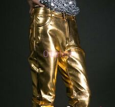 2016 Mens Gold Silver Long Pants Singer Dance Party Trousers Shiny Show Fashion