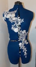 white bridal  embroidery patch lace applique motif dance trimming wedding dress