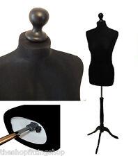 Size 10 BLACK Female Dressmaking MANNEQUIN TAILORS Dummy Dressmaker Bust Model