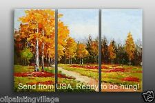 Oil Painting Palette Knife Landscape golden leave Framed Ready to be hung Last 1