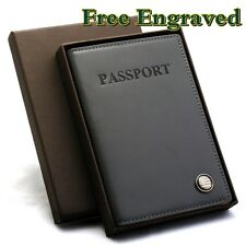 Personalized Leather Passport Case GREY ID Card Holder Cover Wallet Mens Women