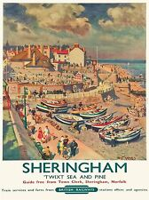 TRAVEL SHERINGHAM BRITISH RAILWAYS SEASIDE BOATS TOURISTS VILLAGE PRINT LV4102
