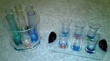 COLORFUL  6 PIECE SHOOTER 6 PIECE SHOT GLASS SET IN BOWL & DANSK DESIGNER TRAY
