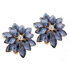 18K Yellow Gold Plated Flower Blue Sapphire & Crystals Stud Earrings Jewellery