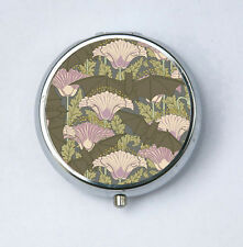 Bat and Poppies Art Nouveau Floral Pattern Pill case pillbox pill holder