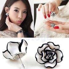 Femmes Fashion Lady Black & White Flower Boucles d'oreilles Rose Earrings HG