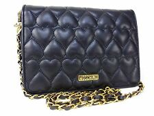 Authentic Moschino Leather Shoulder Bag Black Crossbody K491