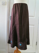 Lovely M & S brown peachskin sparkly jewelled & embroidered full skirt sz 10