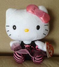 HELLO KITTY Steam Punk Skull TY BEANIE BABIES Black Pink Plush Doll Stuffed 6""