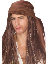 Adulto Pirata Bandana Peluca Fancy Dress Costume Caribe Jack Sparrow Para Hombre Bn