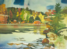 California Artist,James Milford Zornes,Large Watercolor,IN?NC?WI?WV?Autumn,West?