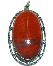 ANTIQUE ART NOUVEAU DECO RED AGATE STERLING SILVER OVAL WOMENS PENDANT 1 3/8""