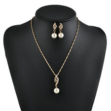 Women Wedding Party Bridal Crystal Pearl Rhinestone Necklace Earring Jewelry Set
