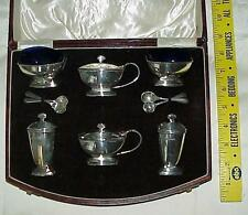 SILVER STERLING ENGLAND SET SALT PEPPER MUSTANG SPOON JEWELL GOLD LONDON ORDER