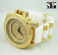 Men Luxury Hip Hop Iced Out Gold Finished Micro Pave Rapper's Rubber Band Watch