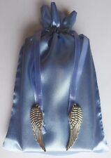 Angel Wings Blue Satin Tarot Charm Bag