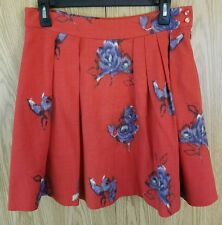 ANTHROPOLOGIE ODILLE Women's Red Floral Wool Skirt, Size 4