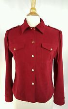 Womens ST JOHN SPORT Marie Gray Red Jacket Military Shoulder sz Small S C1