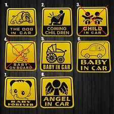 2x Assorted Bumper Sticker Reflective Vinyl Decal Baby On Board Dog Angel In Car