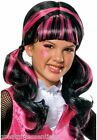Monster High Draculaura Costume Wig Child Black Pink Pigtails Hair Girl Licensed