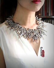 Collier Ras du Cou Feuille Metallique Irregulier Punk Retro Original OSC 6