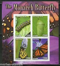 GUYANA THE MONARCH BUTTERFLY SHEET II  IMPERFORATED MINT NH