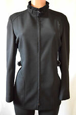AKRIS Punto Black Priest Collar Front Zipper Belted Jacket/Blazer Size D40 US 10