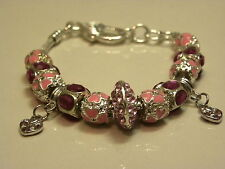NEW fashionable bracelet with pink decorations and mixed beads