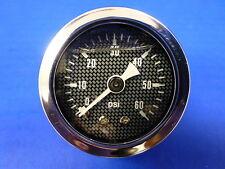 """Marshall Gauge 0-60 psi Fuel Pressure Oil Pressure 1.5"""" Carbon Fiber Face Liquid"""