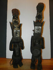 """Arts of Africa - Dogon 2 Face Male/ Female Fetish - Mali - 30"""" Heightx 7"""" Wide"""