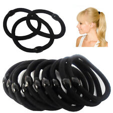 Black 10 Quality Thick Bobbles Hair Bands Elastic High Ponytail Rubber Hairband