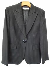 Tahari ASL Size 8 pin striped black one button slim fit woman Blazer